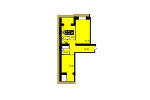 ЖК Millennium Hills: планування 2-кімнатної квартири 74.86 м²