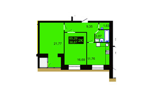 ЖК Millennium Hills: планування 2-кімнатної квартири 65.29 м²