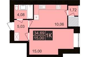 ЖК Millennium Hills: планування 1-кімнатної квартири 34.69 м²
