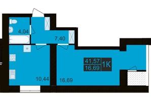 ЖК Millennium Hills: планування 1-кімнатної квартири 41.57 м²
