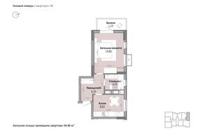 ЖК Millennium: планування 1-кімнатної квартири 34.4 м²