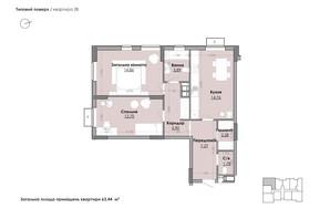 ЖК Millennium: планування 2-кімнатної квартири 63.44 м²
