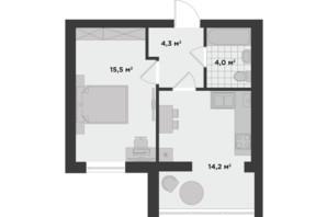 ЖК Millennium State (Міленіум Стейт): планування 1-кімнатної квартири 38 м²