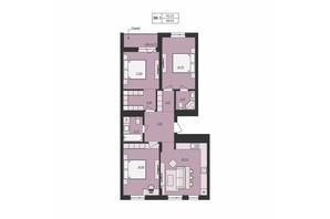 ЖК Milltown: планування 3-кімнатної квартири 88.66 м²