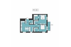 ЖК Milltown: планування 2-кімнатної квартири 66.69 м²