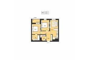 ЖК Milltown: планування 2-кімнатної квартири 54.53 м²