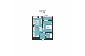 ЖК Milltown: планування 1-кімнатної квартири 46.29 м²