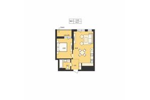 ЖК Milltown: планування 1-кімнатної квартири 49.67 м²