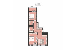 ЖК Milltown: планування 2-кімнатної квартири 63.73 м²