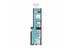 ЖК Milltown: планування 1-кімнатної квартири 44.53 м²