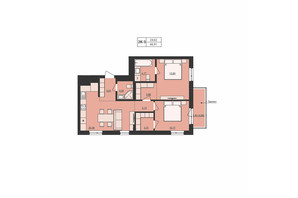 ЖК Milltown: планування 2-кімнатної квартири 66.91 м²