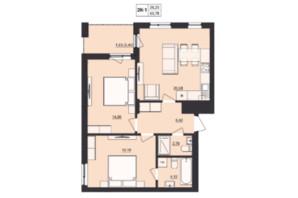 ЖК Milltown: планування 2-кімнатної квартири 63.78 м²