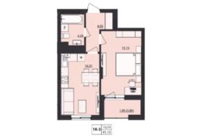 ЖК Milltown: планування 1-кімнатної квартири 41.13 м²