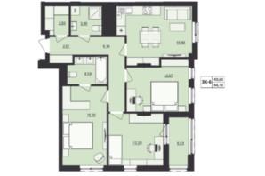 ЖК Milltown: планування 3-кімнатної квартири 84.78 м²