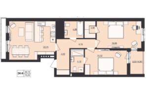 ЖК Milltown: планування 2-кімнатної квартири 75.2 м²
