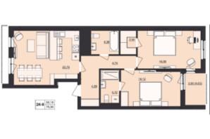 ЖК Milltown: планування 2-кімнатної квартири 75.3 м²