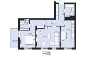 ЖК Milltown: планування 2-кімнатної квартири 65.44 м²