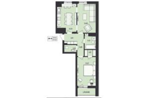 ЖК Milltown: планування 2-кімнатної квартири 59.63 м²