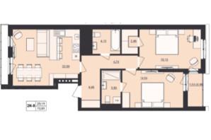 ЖК Milltown: планування 2-кімнатної квартири 72.81 м²