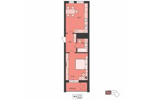 ЖК Milltown: планування 1-кімнатної квартири 48.54 м²