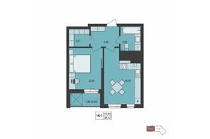 ЖК Milltown: планування 1-кімнатної квартири 45.12 м²