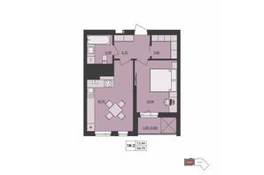 ЖК Milltown: планування 1-кімнатної квартири 44.79 м²