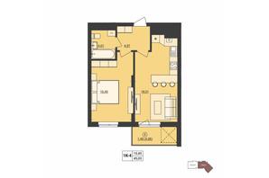 ЖК Milltown: планування 1-кімнатної квартири 45.03 м²