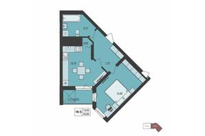ЖК Milltown: планування 1-кімнатної квартири 44.86 м²