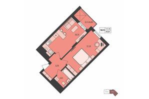 ЖК Milltown: планування 1-кімнатної квартири 45.81 м²