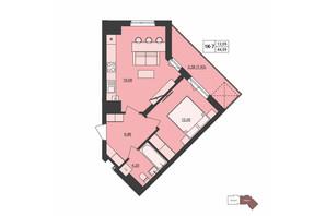 ЖК Milltown: планування 1-кімнатної квартири 44.59 м²