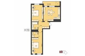 ЖК Milltown: планування 2-кімнатної квартири 71.96 м²