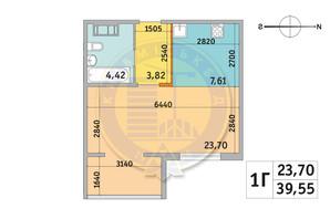 ЖК Мілос: планування 1-кімнатної квартири 39.55 м²
