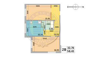 ЖК Мілос: планування 2-кімнатної квартири 58.61 м²