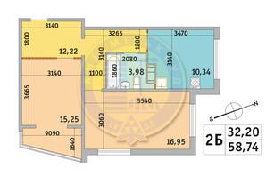 ЖК Мілос: планування 2-кімнатної квартири 58.74 м²