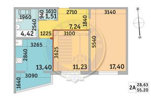 ЖК Мілос: планування 2-кімнатної квартири 55.2 м²