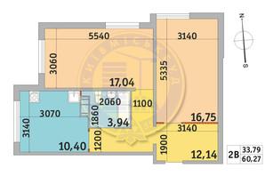 ЖК Мілос: планування 2-кімнатної квартири 60.27 м²