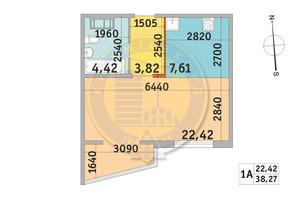 ЖК Мілос: планування 1-кімнатної квартири 38.27 м²