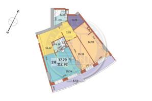 ЖК «Mirax»: планировка 2-комнатной квартиры 112.92 м²