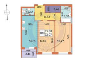 ЖК «Mirax»: планировка 2-комнатной квартиры 72.07 м²