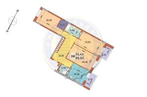 ЖК «Mirax»: планування 3-кімнатної квартири 98.82 м²