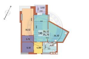 ЖК «Mirax»: планування 1-кімнатної квартири 75.75 м²