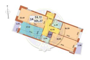 ЖК Mirax (Миракс): планировка 3-комнатной квартиры 101.27 м²