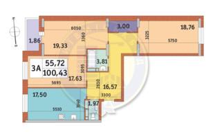 ЖК Mirax (Миракс): планировка 3-комнатной квартиры 100.43 м²
