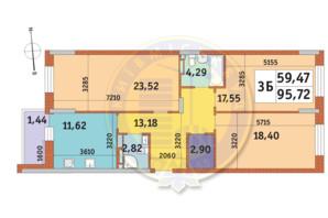ЖК Mirax (Миракс): планировка 3-комнатной квартиры 95.72 м²