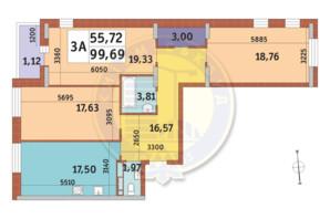 ЖК Mirax (Миракс): планировка 3-комнатной квартиры 99.69 м²