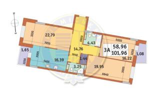 ЖК Mirax (Миракс): планировка 3-комнатной квартиры 101.96 м²