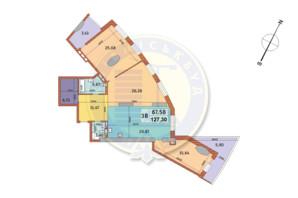 ЖК Mirax (Миракс): планировка 3-комнатной квартиры 127.3 м²