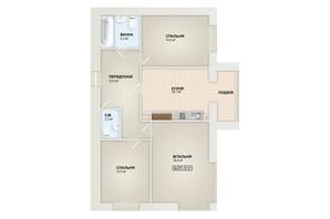 ЖК Містечко Козацьке: планування 3-кімнатної квартири 85.5 м²