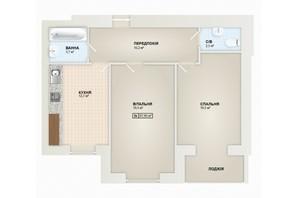 ЖК Містечко Козацьке: планировка 2-комнатной квартиры 67 м²