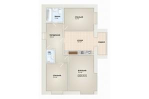 ЖК Містечко Козацьке: планировка 3-комнатной квартиры 85.5 м²